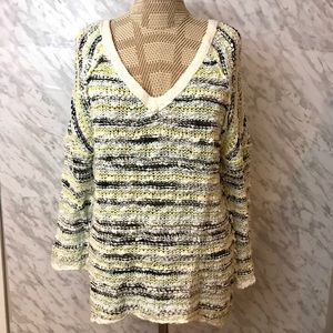 FREE PEOPLE  Ivory Comb Knit Sweater Size Small